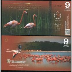 ATLANTIC FOREST - Billet de 9 Aves - Flamant rose - 2015