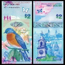BERMUDES - Billet de 2 DOLLARS - Merle bleu de l'Est - 2009 P57b