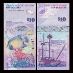 BERMUDES - Billet de 10 DOLLARS - Poisson ange bleu - 2009