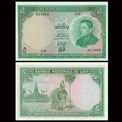 LAOS - Billet de 5 Kip - 1962 - Elephant