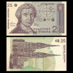 CROATIE - BILLET de 25 Dinars - 1991