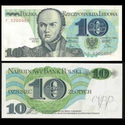 POLOGNE - Billet de 10 Złotych - Józef Bem - 01.06.1982