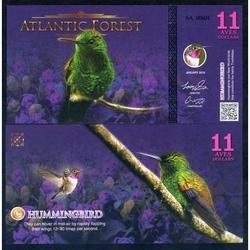 ATLANTIC FOREST - Billet de 11 Aves - Colibris - 2016