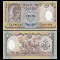 NEPAL - Billet de 10 Roupies - Antilopes - Polymer - 2005