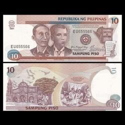 PHILIPPINES - Billet de 10 Piso - Apolinario Mabini & Andres Bonifacio - 2001 P187i