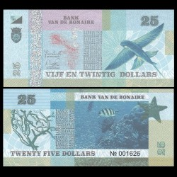 BONAIRE - Billet de 25 Dollars - Oiseau - 2015
