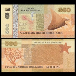 BONAIRE - Billet de 500 Dollars - Raie Manta - 2015