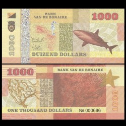 BONAIRE - Billet de 1000 Dollars - Requin - 2015