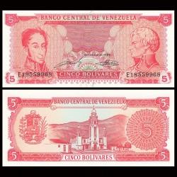 VENEZUELA - Billet de 5 Bolivares - Simón Bolívar, Francisco de Miranda - 1989