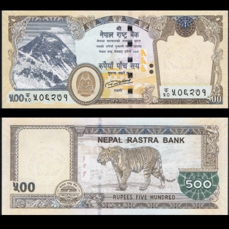 NEPAL - Billet de 500 Roupies - Tigre - 2016 / 2018 P81a