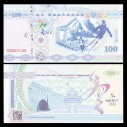 CHINE - Billet de 100 Yuan - Jeux Olympiques d'Hiver de Pékin 2022 - Type II