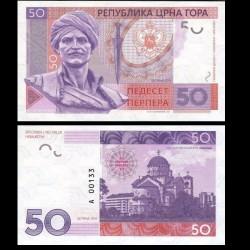 MONTENEGRO - Billet de 50 Perpera - Vasos Mavrovouniotis / Vaso Brajević - 2016