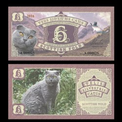 FELIS SILVESTRIS CATUS - Billet de 5 - Chat de race Scottish fold - 2016