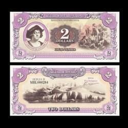 TERRE MARIE BYRD - Billet de 2 Dollars - Christophe Colomb - 2014