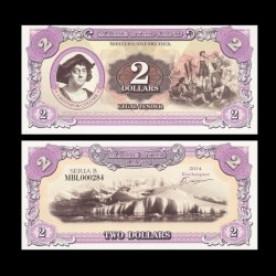 TERRE MARIE BYRD - Billet de 2 Dollars - Christophe Colomb - 2014