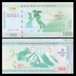 CHINE - Billet de 100 Yuan - Jeux Olympiques de Pekin - 2022