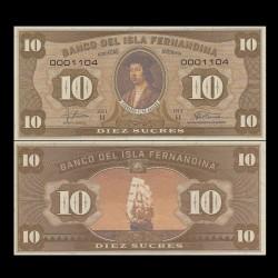 ISLA FERNANDINA - Billet de 10 Sucres - Ferdinand II d'Aragon - 2016