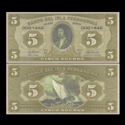 ISLA FERNANDINA - Billet de 5 Sucres - Ferdinand II d'Aragon - 2016