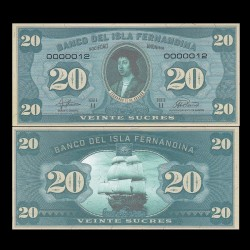 ISLA FERNANDINA - Billet de 20 Sucres - Ferdinand II d'Aragon - 2016