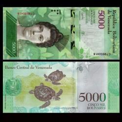 VENEZUELA - Billet de 5000 Bolivares - Tortues - 23.03.2017