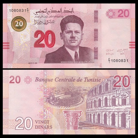 TUNISIE - Billet de 20 Dinars - Farhat Hached - 2017 P97a