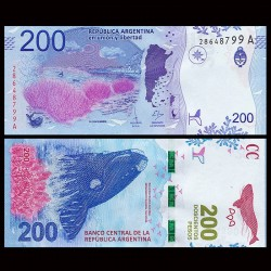 ARGENTINE - Billet de 200 Pesos - Baleine franche australe - 2016