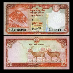 NEPAL - Billet de 20 Roupies - Couple de Cerf Sambar - 2016 P78a