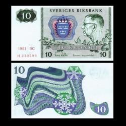 SUEDE - Billet de 10 Couronnes - Le roi Gustave VI Adolf - 1981