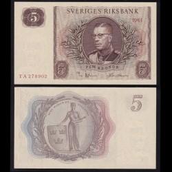 SUEDE - Billet de 5 Couronnes - Le roi Gustave VI Adolf - 1961