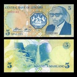 LESOTHO - Billet de 5 Maloti - Roi Moshoeshoe II - 1989
