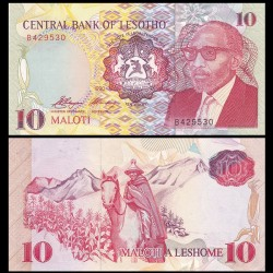 LESOTHO - Billet de 10 Maloti - Roi Moshoeshoe II - 1990