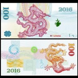 CHINE - Billet de 100 Yuan - Dragon - 2016