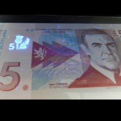 ECOSSE - Billet de 5 Pounds - Sean Connery - 2014