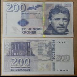 NORVEGE - Billet de 200 Kroner - Jo Nesbo - 2015 Jo Nesbo - Gabris