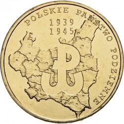 POLOGNE - PIECE de 2 ZLOTE - Etat polonais clandestin - 2009