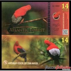 ATLANTIC FOREST - Billet de 14 Aves - Coq-de-roche péruvien - 2016 0014 AVES
