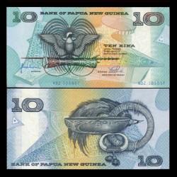 PAPOUASIE NOUVELLE GUINEE - Billet de 10 Kina - Oiseau de paradis - 1998