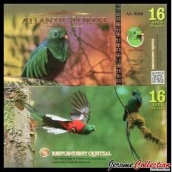 ATLANTIC FOREST - Billet de 16 Aves - Quetzal resplendissant - 2016
