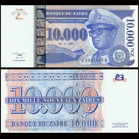 ZAIRE - Billet de 10000 Nouveaux Zaïres - 30.1.1995 P70a