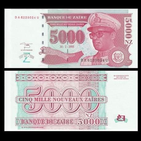 ZAIRE - Billet de 5000 Nouveaux Zaïres - 30.1.1995 P69a