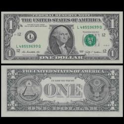 ETATS UNIS / USA - Billet de 1 DOLLAR - 2009 - L(12) San Francisco P530aL - Fw