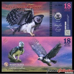 ATLANTIC FOREST - Billet de 18 Aves - Harpie féroce - 2016
