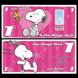 CEDAR FAIR- Billet de 1 Bargle Buck - 2011 - Snoopy & Woodstock