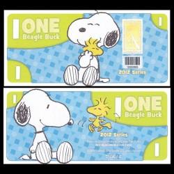 CEDAR FAIR- Billet de 1 Bargle Buck - 2012 - Snoopy & Woodstock