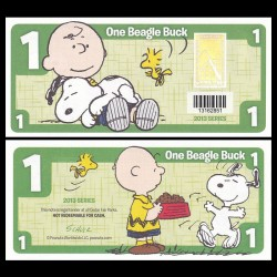CEDAR FAIR- Billet de 1 Bargle Buck - 2013 - Snoopy & Charlie Brown