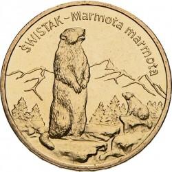 POLOGNE - PIECE de 2 ZLOTE - Le monde des animaux: Marmotte des Alpes - 2006 Y#534