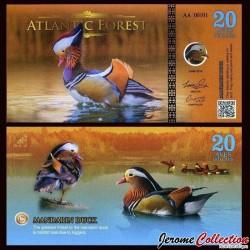 ATLANTIC FOREST - Billet de 20 Aves - Canard mandarin - 2016