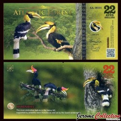 ATLANTIC FOREST - Billet de 22 Aves - Calao - 2016
