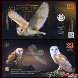 ATLANTIC FOREST - Billet de 23 Aves - Chouette effraie - 2016