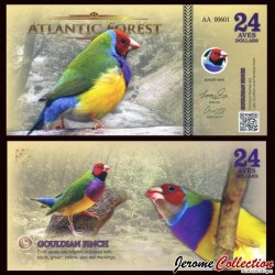 ATLANTIC FOREST - Billet de 24 Aves - Diamant de Gould - 2016